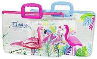 """Сумка с пластиковыми  ручками прозрачная """"Фламинго"""" 39x28см, mix"""