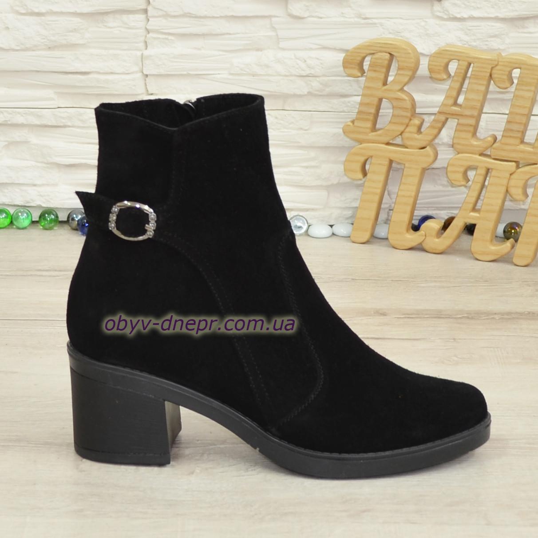 Ботинки черные женские замшевые   на устойчивом каблуке