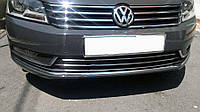 Накладки на передний бампер Volkswagen Passat B7 2012-2015 (3 шт. нерж.) Omsa