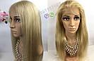 Длинный парик блонд #613 на полной сетке из натуральных волос, имитация кожи головы, фото 2