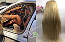 Длинный парик блонд #613 на полной сетке из натуральных волос, имитация кожи головы, фото 4