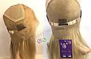 Длинный парик блонд #613 на полной сетке из натуральных волос, имитация кожи головы, фото 5