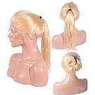 Длинный парик блонд #613 на полной сетке из натуральных волос, имитация кожи головы, фото 10