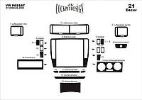 Декоративные накладки на панель Volkswagen Passat B5 2004-2005 (к-т 21 шт.) Дерево Meric