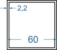 Алюмінієва труба квадратна 60x60x2.2 без покриття. Порізка в розмір.
