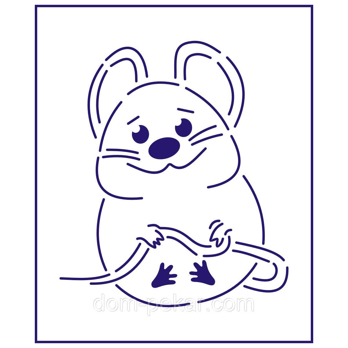 Трафарет Веселая мышка 11*9,5 см (TR-1)