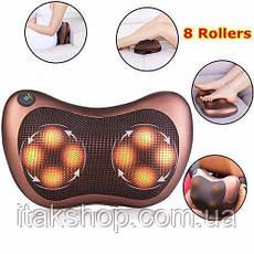 Роликовый массажер для спины и шеи Massage pillow CHM-8028 Массажная подушка 12 роликов, фото 3