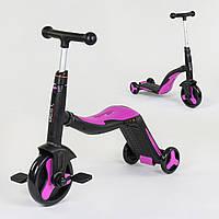 Велосипед трехколесный, беговел и самокат 3 в 1 розовый с подсветкой и музыкой для детей от 3 до 8 лет