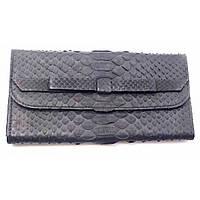 Сумочка клатч из кожи питона черный матовый (30х11х2 см)