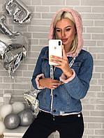 Женская джинсовая куртка на меху с капюшоном