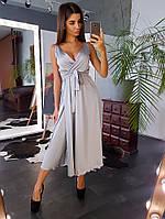 Шелковое платье миди с запахом на груди серого цвета, фото 1