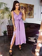 Шелковое платье миди с запахом на груди сиреневого цвета, фото 1