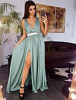 Шелковое платье миди с декорированным поясом минтолового цвета, фото 1