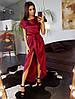 Бордовое шелковое платье с ассиметричной юбкой