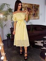 Желтое платье миди с вышивкой ришелье и открытыми плечами, фото 1
