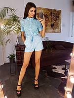 Голубой ромпер с вышивкой ришелье Berezka, фото 1