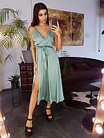 Шелковое платье миди с запахом на груди цвета минтол, фото 1