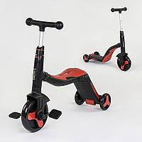 Велосипед триколісний, беговел і самокат 3 в 1 червоний з підсвічуванням і музикою для дітей від 3 до 8 років