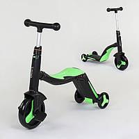 Велосипед триколісний, беговел і самокат 3 в 1 салатовий з підсвічуванням і музикою для дітей від 3 до 8 років