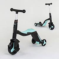 Велосипед триколісний, беговел і самокат 3 в 1 блакитний ч. рама з підсвічуванням і музикою для дітей від 3 до 8 років