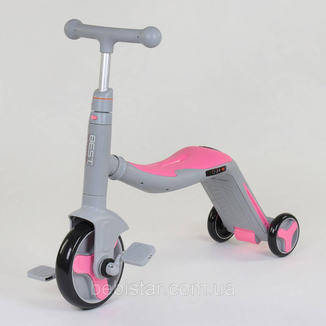 Велосипед трехколесный, беговел и самокат 3 в 1 розовый с.рама с подсветкой и музыкой для детей от 3 до 8 лет