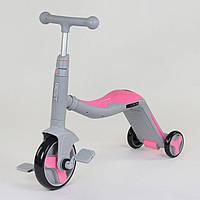 Велосипед триколісний, беговел і самокат 3 в 1 рожевий с. рама з підсвічуванням і музикою для дітей від 3 до 8 років