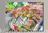 "Картина на холсте ""Велосипед в цветах '' ( 41.5х54 см )"
