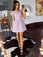 Сиреневое приталенное платье с вышивкой ришелье с красивыми отворотами, фото 1