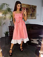 Розовое льняное платье свободного кроя с оборкой по низу, фото 1