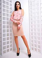 Комплект: Юбка карандаш и блузка с вырезами на плечах, фото 1