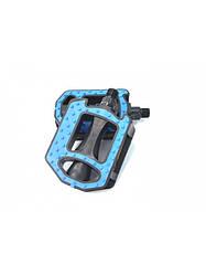 Педали с пупырышками пластиковые (синие) для горного велосипеда на шариках со светоотражателями