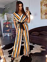 Комбинезон в полоску в стиле кимоно приталенный поясом, фото 1