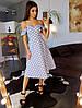 Коттоновое платье миди в горошек с открытыми плечами