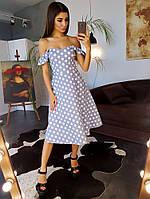 Коттоновое платье миди в горошек с открытыми плечами, фото 1