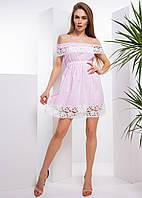 Коттоновое платье с открытыми плечами и кружевом, фото 1