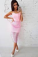 Розовое вечернее платье бандо, фото 1