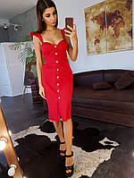 Красное платье- бюстье с черепаховыми пуговицами, фото 1