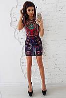 Мини платье с абстрактным принтом, фото 1