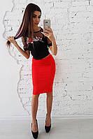 Комплект: Черный топ с вышивкой и красная юбка карандаш, фото 1
