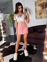 Комплект: Персиковая юбочка на пуговицах + цветочный топ, фото 1