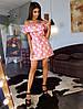 Коттоновое платье в звездочки  с двойной оборкой