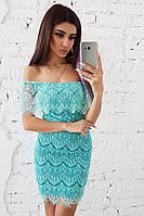 Облегающее мятное платье из кружево с ресничками, фото 1