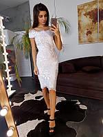 Элегантное белое кружевное платье с открытыми плечами