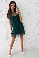 Платье  с оборкой из сетки в горошек, фото 1