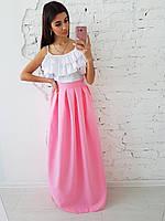 Комплект: Розовая юбка миди со складками и топ с рюшами, фото 1
