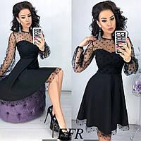 Шикарное нарядное платье женское сетка горох 42 44 46 48 черное бутылка пудра красное марсала