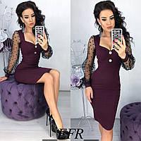 Шикарное нарядное обтягивающее платье женское сетка горох 42 44 46 48 черное бутылка синее марсала