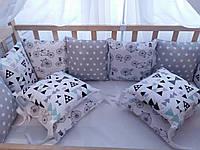 Комплект бортиков в кроватку на три стороны со съёмными наволочками
