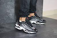 Мужские кроссовки в стиле Nike Supreme, кожа, сетка, пена, серые с черным 43 (27,5 см)