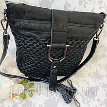 Женская сумка натуральная кожа черная (9479-1)
